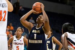 George Washington Colonials C/F Jessica Adair (1)..The Virginia Cavaliers women's basketball team fell to the #14 ranked George Washington Colonials 70-68 at the John Paul Jones Arena in Charlottesville, VA on November 12, 2007.