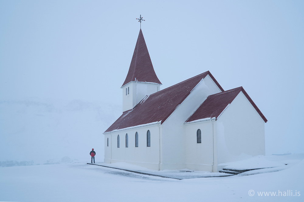 The church Vikurkirkja, in Vik in Myrdalur, south Iceland - Víkurkirkja