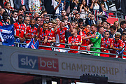 Charlton Athletic players celebrate winning the play off trophy during the EFL Sky Bet League 1 play off final match between Charlton Athletic and Sunderland at Wembley Stadium, London, England on 26 May 2019.