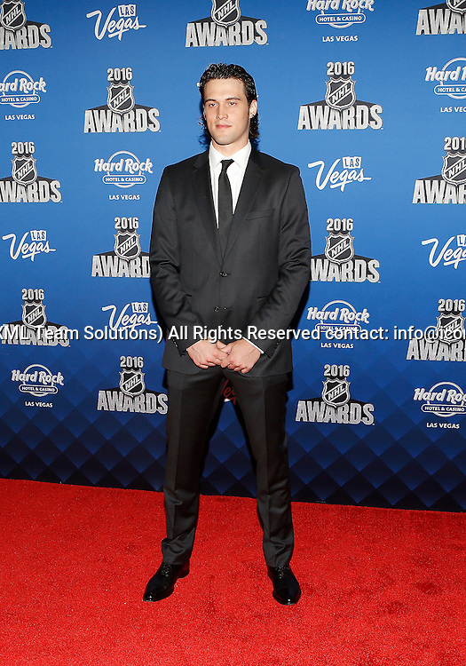 2016 June 22: Anaheim Ducks goaltender John Gibson poses for a photograph on the red carpet during the 2016 NHL Awards at the Hard Rock Hotel and Casino in Las Vegas, Nevada. (Photo by Marc Sanchez/Icon Sportswire)