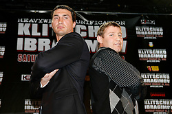 December 4, 2007; New York, NY, USA;  IBF/IBO Heavyweight Champion Wladimir Klitschko (l) and WBO Heavyweight Champion Sultan Ibragimov (r) pose during the press conference announcing their February 23, 2008 unification bout.  The two fighters will meet at Madison Square Garden in NY, NY.