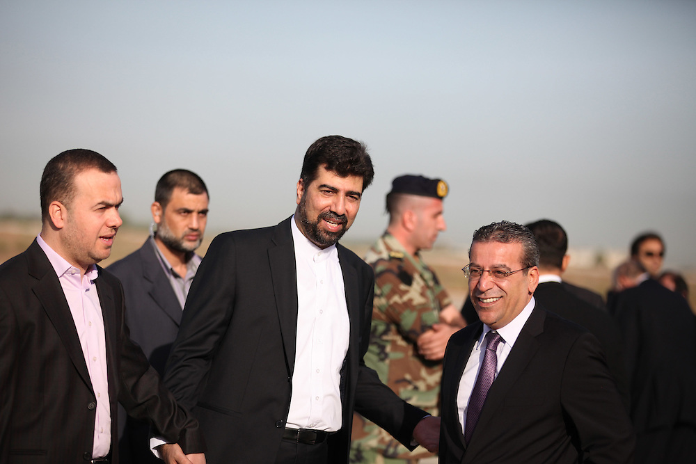 Iran's Ambassador to Lebanon (middle) waits with Hizballah MPs for Mahmoud Ahmadinejad.