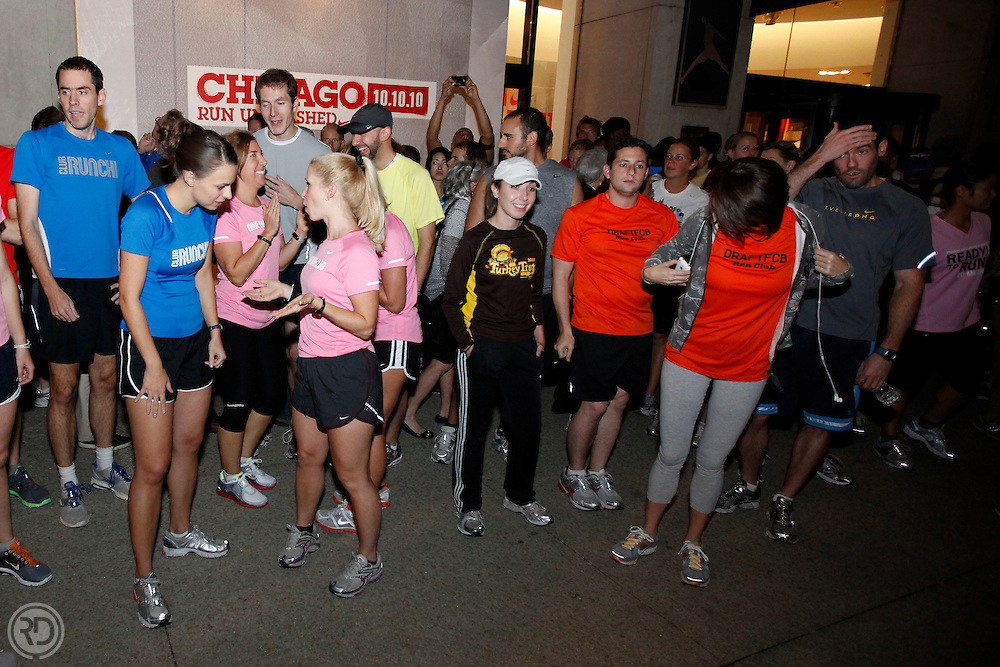 2010 Chicago Marathon & Nike Northside vs. Southside kick-off event at the Niketown store on Michigan Avenue..October 7, 2010..Photograph by Ross Dettman