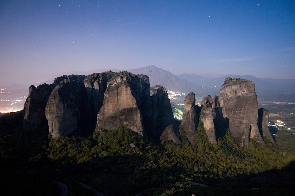 Greece, Meteora, cliffs in moonlight