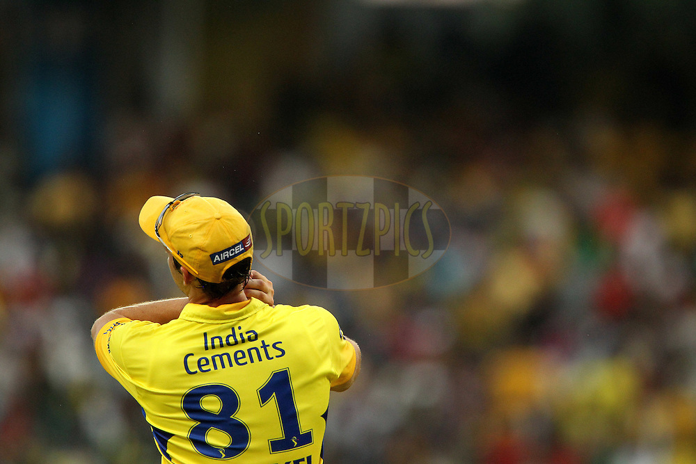 Albie Morkel catches Mayank Agarwal during match 14 of the Indian Premier League ( IPL ) Season 4 between the Chennai Superkings and The Royal Challengers Bangalore held at the MA Chidambaram Stadium in Chennai, Tamil Nadu, India on the 16th April 2011..Photo by Ron Gaunt/BCCI/SPORTZPICS
