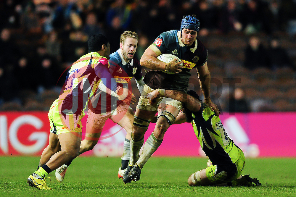 James Horwill of Harlequins takes on the Sale Sharks defence - Mandatory byline: Patrick Khachfe/JMP - 07966 386802 - 03/02/2017 - RUGBY UNION - The Twickenham Stoop - London, England - Harlequins v Sale Sharks - Anglo-Welsh Cup.