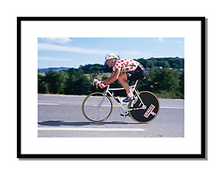 Bernard Hinault, <br /> Tour de France 1986<br /> <br /> Heading to victory over Greg LeMond by 44 seconds in the time trial at Nantes. The positions would be reversed by the time the race reached Paris.