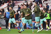 Sokratis Papastathopoulos (5) of Arsenal warming up before the Premier League match between Bournemouth and Arsenal at the Vitality Stadium, Bournemouth, England on 25 November 2018.