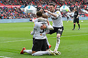 Goal - Jayden Bogle (37) of Derby County celebrates scoring a goal to give a 0-2 lead to the away team during the EFL Sky Bet Championship match between Bristol City and Derby County at Ashton Gate, Bristol, England on 27 April 2019.