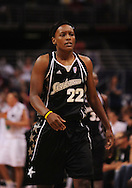 Aug 26, 2010; Phoenix, AZ, USA; San Antonio Silver Stars forward Ashley Battle (22) reacts on the court against the Phoenix Mercury during the first half in game one of the western conference semi-finals in the 2010 WNBA Playoffs at US Airways Center.  The Mercury defeated the Silver Stars 106-93.  Mandatory Credit: Jennifer Stewart-US PRESSWIRE
