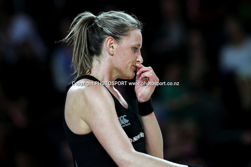 Leana de Bruin of New Zealand reacts. International Netball Series, Constellation Cup Test Match, New Zealand Silver Ferns v Australian Diamonds at Vector Arena, Auckland, New Zealand. Thursday 19th September 2013. Photo: Anthony Au-Yeung / photosport.co.nz
