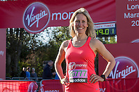 Sophie Raworth in the celebrity area ahead of the Gren Start at The Virgin Money London Marathon 2014 on Sundy 13 April 2014<br /> Photo: Neil Turner/Virgin Money London Marathon<br /> media@london-marathon.co.uk