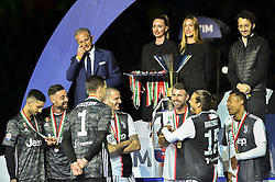 May 19, 2019 - Turin, Turin, Italy - Wojciech Szczesny, Carlo Pinsoglio, Mattia Perin, Alex Sandro, Andrea Barzagli, Leonardo Bonucci of Juventus FC celebrates the trophy of Scudetto  2018-2019 at Allianz Stadium, Turin (Credit Image: © Antonio Polia/Pacific Press via ZUMA Wire)