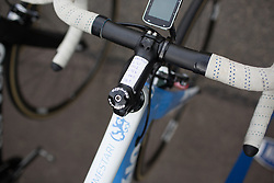 The stage's cheat sheet on the stem of Lotta Lepistö (FIN) of Cervélo-Bigla Cycling Team before the start of the Aviva Women's Tour 2016 - Stage 1. A 138.5 km road race from Southwold to Norwich, UK on June 15th 2016.