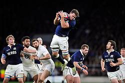 Adam Ashe of Scotland claims the ball in the air - Photo mandatory by-line: Patrick Khachfe/JMP - Mobile: 07966 386802 14/03/2015 - SPORT - RUGBY UNION - London - Twickenham Stadium - England v Scotland - Six Nations Championship
