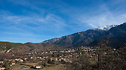 Canigou, the highest mountain in the eastern Pyreenees, and the town of Vernet Les Bains