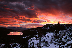 &quot;Donner Lake Sunrise 4&quot;- This sunrise was photographed from the west end of Donner Lake, facing toward the town of Truckee, CA.<br /> Photographed: November 2002