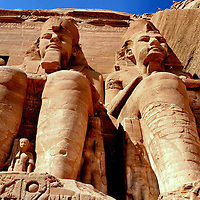 Giant Statues of Pharaoh Ramesses II at Temple of Ramesses in Abu Simbel, Egypt<br />