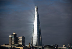 © Licensed to London News Pictures. 18/02/2018. London, UK. Sunshineis reflected from The Shard as London experiences sunny weather with temperatures expected to reach a high of 10 degrees C today. Photo credit: Peter Macdiarmid/LNP