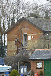 © Licensed to London News Pictures. 15/02/2017. Oxford, UK.  The remains of a block of flats can be seen near Osney Lock in Oxford. A number of people have been injured in what is thought to have been a gas explosion. Photo credit: Peter Macdiarmid/LNP