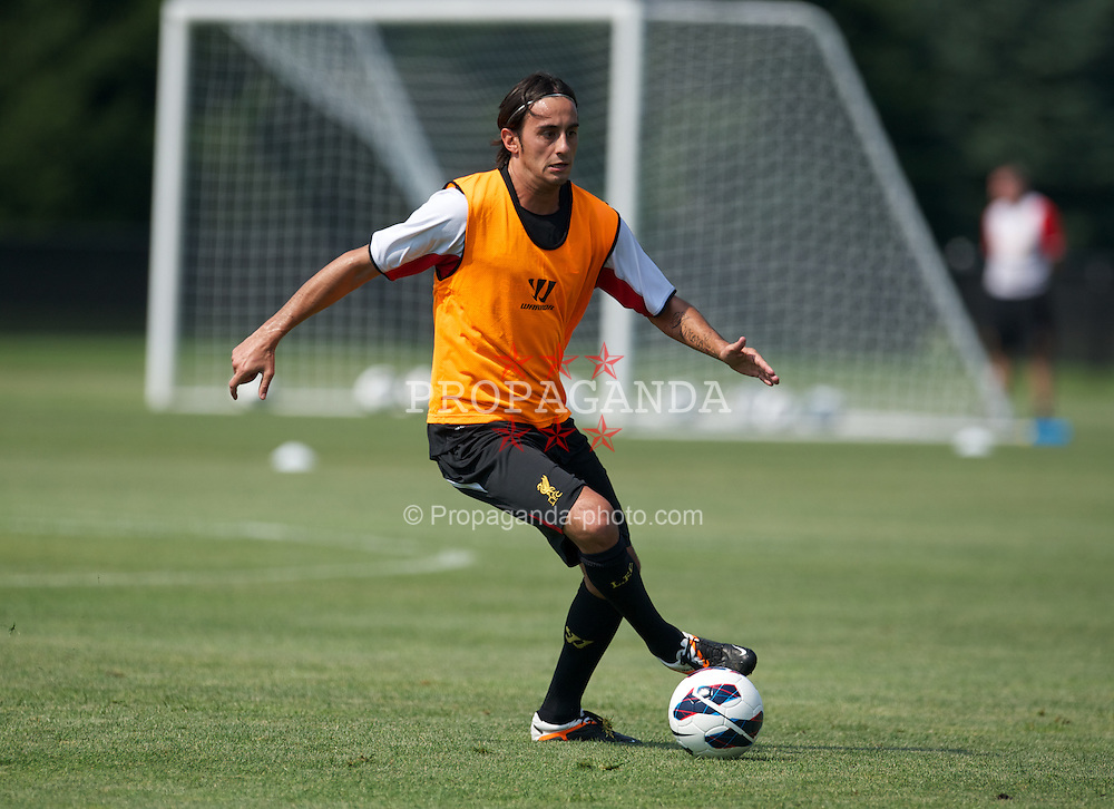 BOSTON, MA - Wednesday, July 18, 2012: Liverpool's Alberto Aquilani training at the Harvard Stadium fields during the club's North American pre-season tour. (Pic by David Rawcliffe/Propaganda)