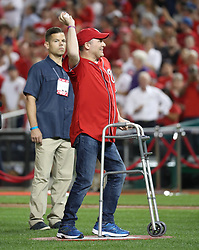 October 6, 2017 - Washington, DC, USA - House Majority Whip Steve Scalise makes the ceremonial first pitch as the Washington Nationals play host to the Chicago Cubs in Game 1 of a National League Division Series on Friday, Oct. 6, 2017, at Nationals Park in Washington D.C. (Credit Image: © Brian Cassella/TNS via ZUMA Wire)