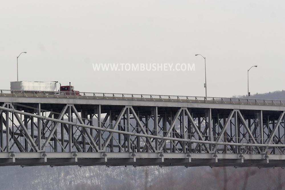 Bear Mountain, New York. - A tractor trailer truck crosses the bear Mountain Bridge on  Feb. 20, 2007.