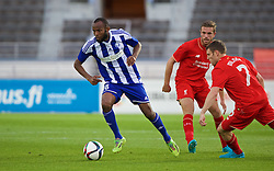 HELSINKI, FINLAND - Friday, July 31, 2015: HJK Helsinki's Ousman Jallow in action against Liverpool during a friendly match at the Olympic Stadium. (Pic by David Rawcliffe/Propaganda)