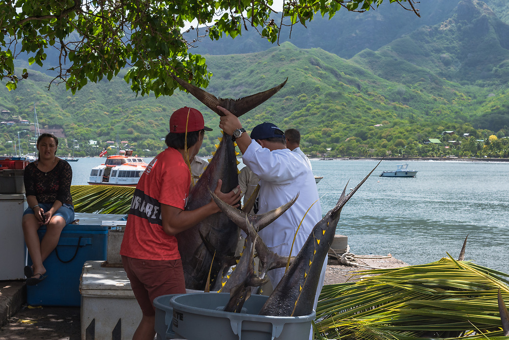 Nuku Hiva, French Polynesia -- March 23, 2018. Fishermen on the Island of Nuku Hiva in the South Pacific display their catch. Editorial Use Only.