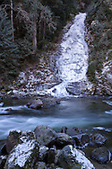 Eureka Falls and Silverhope Creek during a cold winter in Hope, British Columbia, Canada