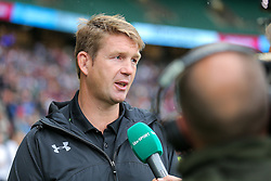 Worcester Warriors Head Coach Carl Hogg is interviewed after his sides defeat - Rogan Thomson/JMP - 03/09/2016 - RUGBY UNION - Twickenham Stadium - London, England - Saracens v Worcester Warriors - Aviva Premiership London Double Header.