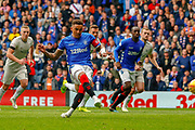 Rangers Captain James Tavernier dispatches the penalty and puts his side in front early in the 2nd half during the Ladbrokes Scottish Premiership match between Rangers and Aberdeen at Ibrox, Glasgow, Scotland on 27 April 2019.