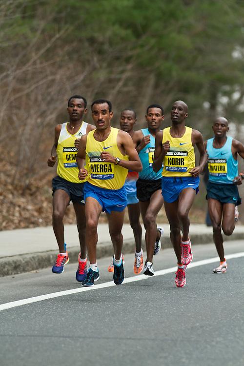 2013 Boston Marathon: Deriba Merga leads race