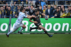 April 1, 2018 - Clermont Ferrand - Stade Marcel, France - Remy Grosso  (asm) vs Dan Carter  (Credit Image: © Panoramic via ZUMA Press)