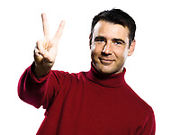caucasian man 2 two  counting showing  fingers  gesture studio portrait on isolated white backgound