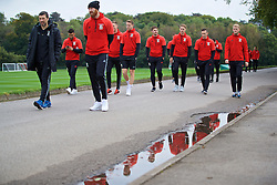 CARDIFF, WALES - Friday, October 7, 2016: Wales' head of performance Ryland Morgans, Neil Taylor, James Collins, Chris Gunter, Tom Bradshaw, David Edwards, Andrew Crofts and goalkeeper Adam Davies during a team walk at the Vale Resort ahead of the 2018 FIFA World Cup Qualifying Group D match against Georgia. (Pic by David Rawcliffe/Propaganda)