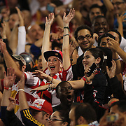 New York Red Bulls fans celebrate a goal during the New York Red Bulls Vs Seattle Sounders, Major League Soccer regular season match at Red Bull Arena, Harrison, New Jersey. USA. 20th September 2014. Photo Tim Clayton