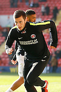 Charlton Athletic midfielder Johnnie Jackson (4) warming up during the Sky Bet Championship match between Charlton Athletic and Middlesbrough at The Valley, London, England on 13 March 2016. Photo by Andy Walter.