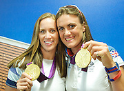Helen Glover and Heather Stanning <br /> Gold medalists<br /> Women's Pair Rowing <br /> at Team GB House, London, Great Britain <br /> 1st August 2012 <br /> <br /> <br /> Helen Glover<br /> <br /> Heather Stanning <br />  <br /> <br /> <br /> Photograph by Elliott Franks