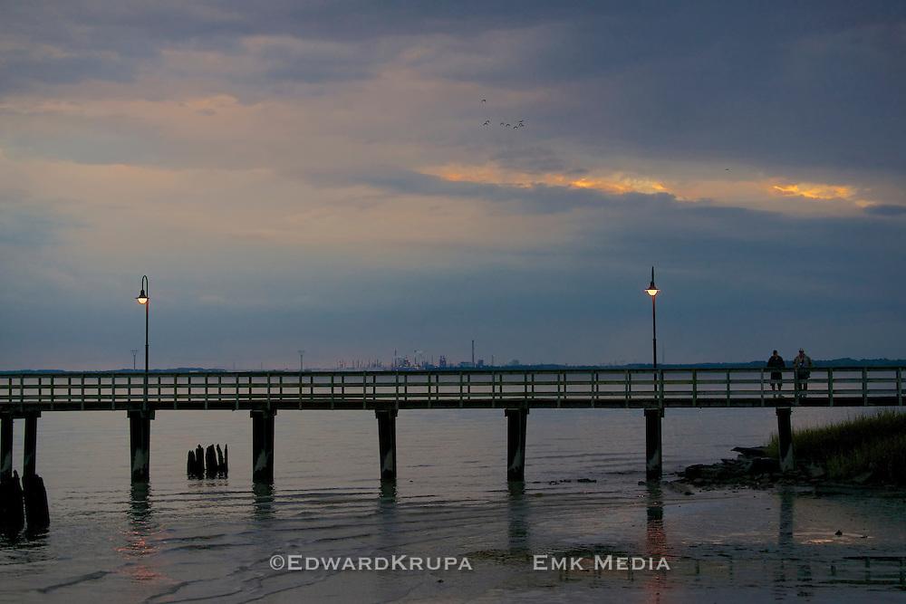 Pier in Delaware a sunset.