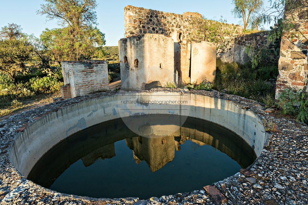 Water storage tanks in the abandoned ruin of the former Santa Brigida Hacienda in the ghost town of Mineral de Pozos, Guanajuato, Mexico. The town, once a major silver mining center was abandoned and left to ruin but has slowly comeback to life as a bohemian arts community.