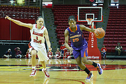 01 January 2012:  Briyana Blair hustles to the key with Alexis Jenkins defending during an NCAA women's basketball game between the Evansville Purple Aces and the Illinois Sate Redbirds at Redbird Arena in Normal IL
