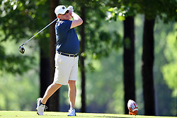 Brian Kelly tees off during the Chick-fil-A Peach Bowl Challenge at the Oconee Golf Course at Reynolds Plantation, Sunday, May 1, 2018, in Greensboro, Georgia. (Dale Zanine via Abell Images for Chick-fil-A Peach Bowl Challenge)