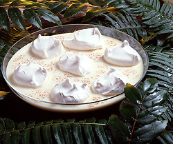 green, palm, fronds, nutmeg, Cuisine, Floating island custard meringue Bon Appetit Bon Appetite