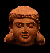 Head of Bodhisattva. Second half of the 1st century or early 2nd century. Kushan dynasty (1st-3rd A.D). red sandstone sculpture from Uttar Pradesh in India (North)