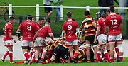 Y Parc, Carmarthen, Wales, UK - Saturday 12th October, 2019.<br /> <br /> Images from the Indigo Welsh Premiership rugby match between Carmarthen Quins and Llanelli RFC. <br /> <br /> Photographer Dan Minto<br /> <br /> mail@danmintophotography.com <br /> www.danmintophotography.com