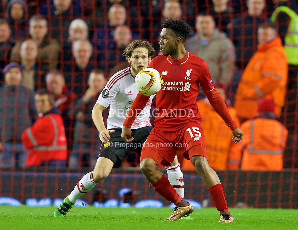 LIVERPOOL, ENGLAND - Thursday, March 10, 2016: Liverpool's Daniel Sturridge in action against Manchester United's Daley Blind during the UEFA Europa League Round of 16 1st Leg match at Anfield. (Pic by David Rawcliffe/Propaganda)