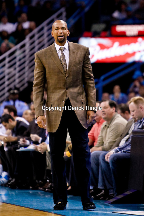 November 17, 2010; New Orleans, LA, USA; New Orleans Hornets head coach Monty Williams reacts to an officials call during the first half against the Dallas Mavericks at the New Orleans Arena. Mandatory Credit: Derick E. Hingle