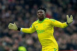 21-01-2018 NED: AFC Ajax - Feyenoord, Amsterdam<br /> Ajax was met 2-0 te sterk voor Feyenoord / Een blije Andre Onana #1 of AFC Ajax bij de 1-0