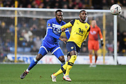 Oxford United midfielder Shandon Baptiste (16) battles for possession with Hartlepool United midfielder Gus Mafuta (15) during the The FA Cup match between Oxford United and Hartlepool United at the Kassam Stadium, Oxford, England on 4 January 2020.